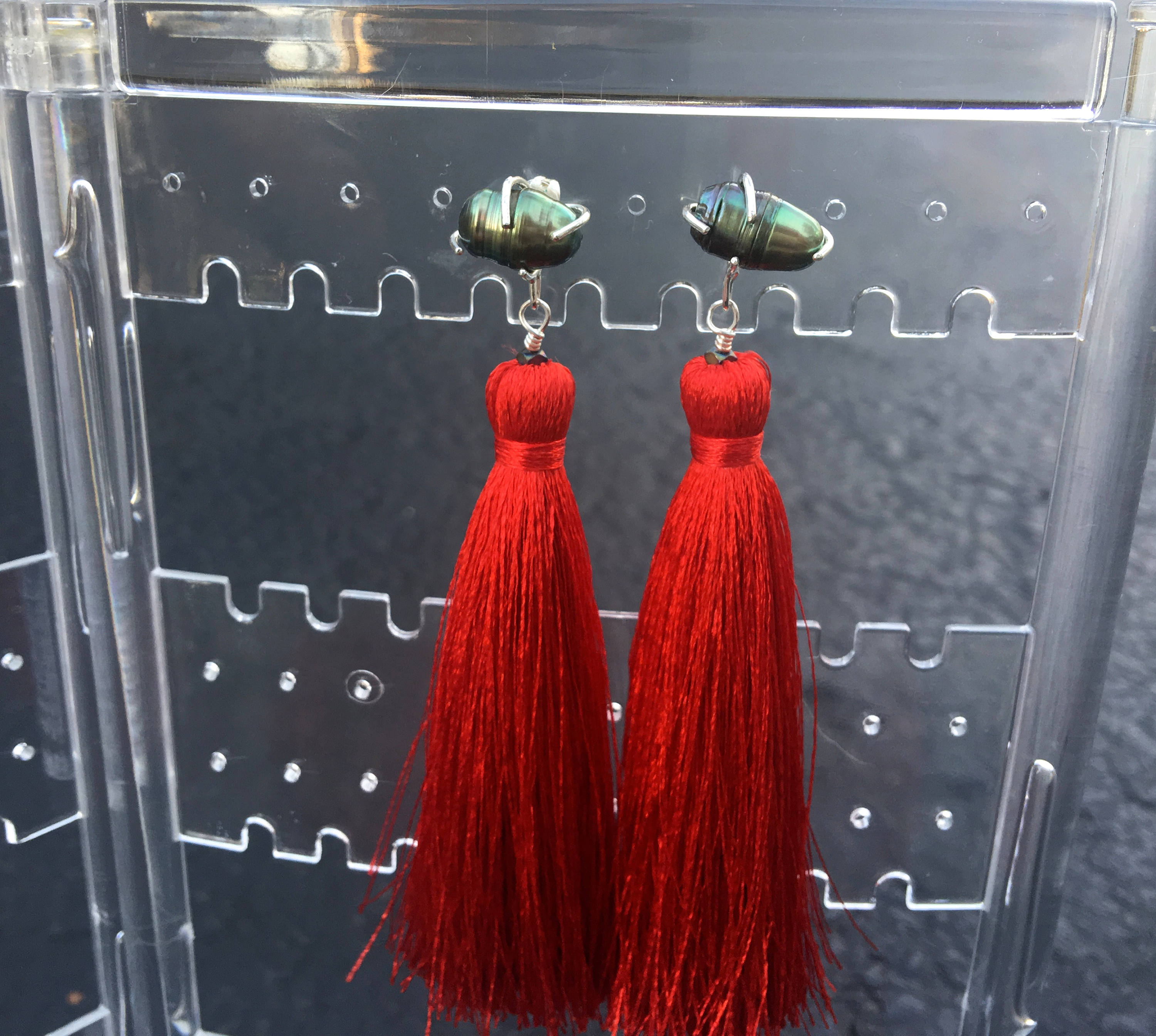 Freshwater Pearl - Red Tassel Earrings
