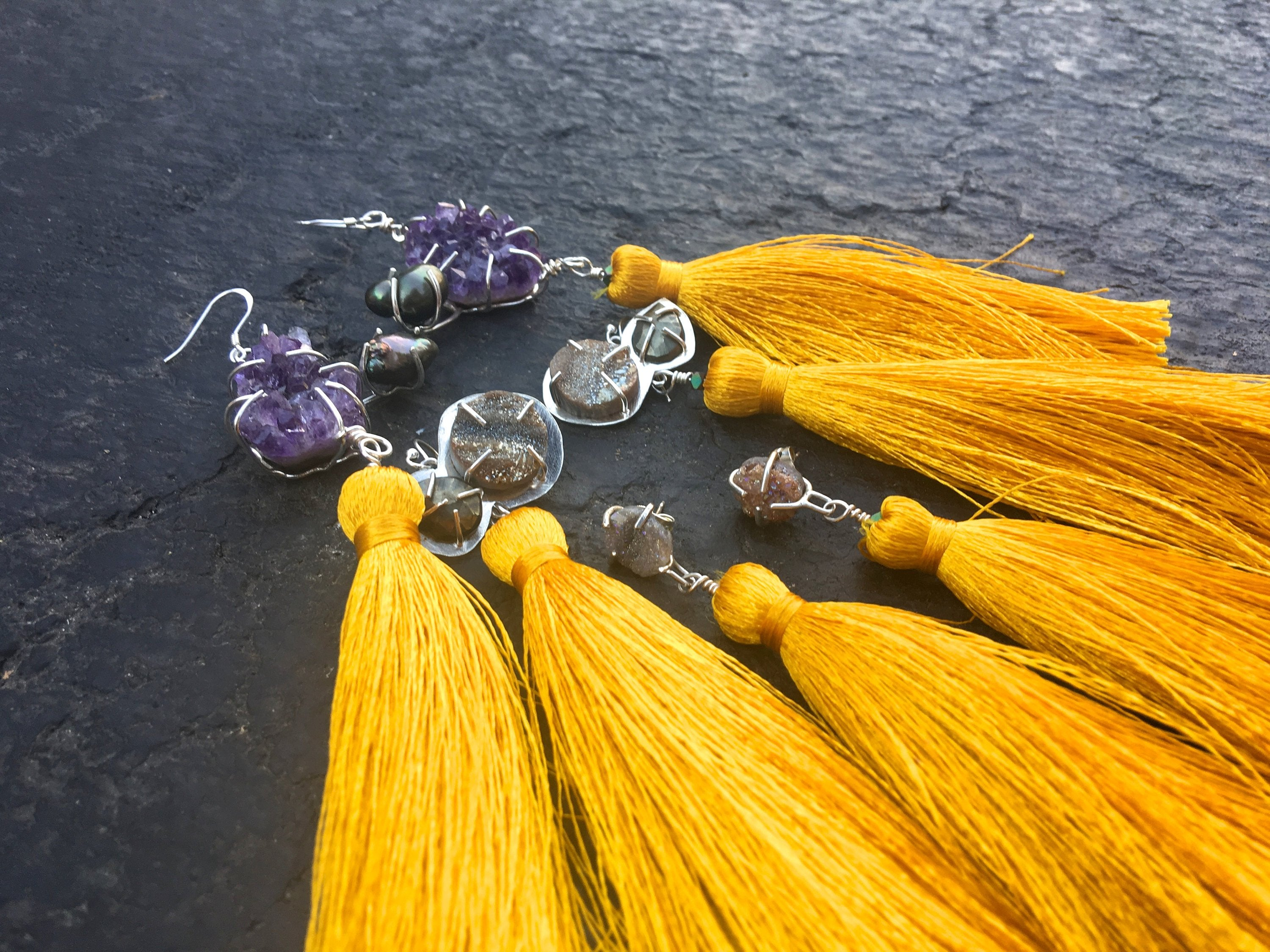 Agate Druzy - Golden Tassel Earrings