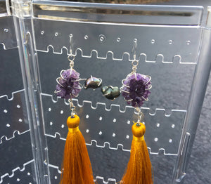 Amethyst- Freshwater Pearl- Golden Tassel Earrings