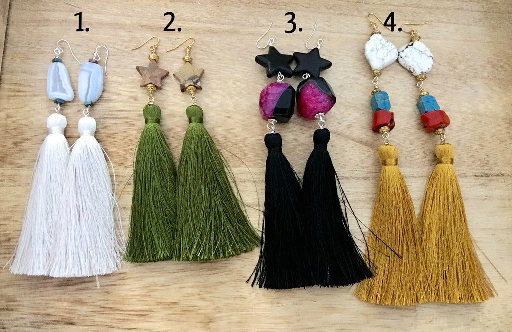 Earrings with Long Tassels (4 pairs, you choose 1)