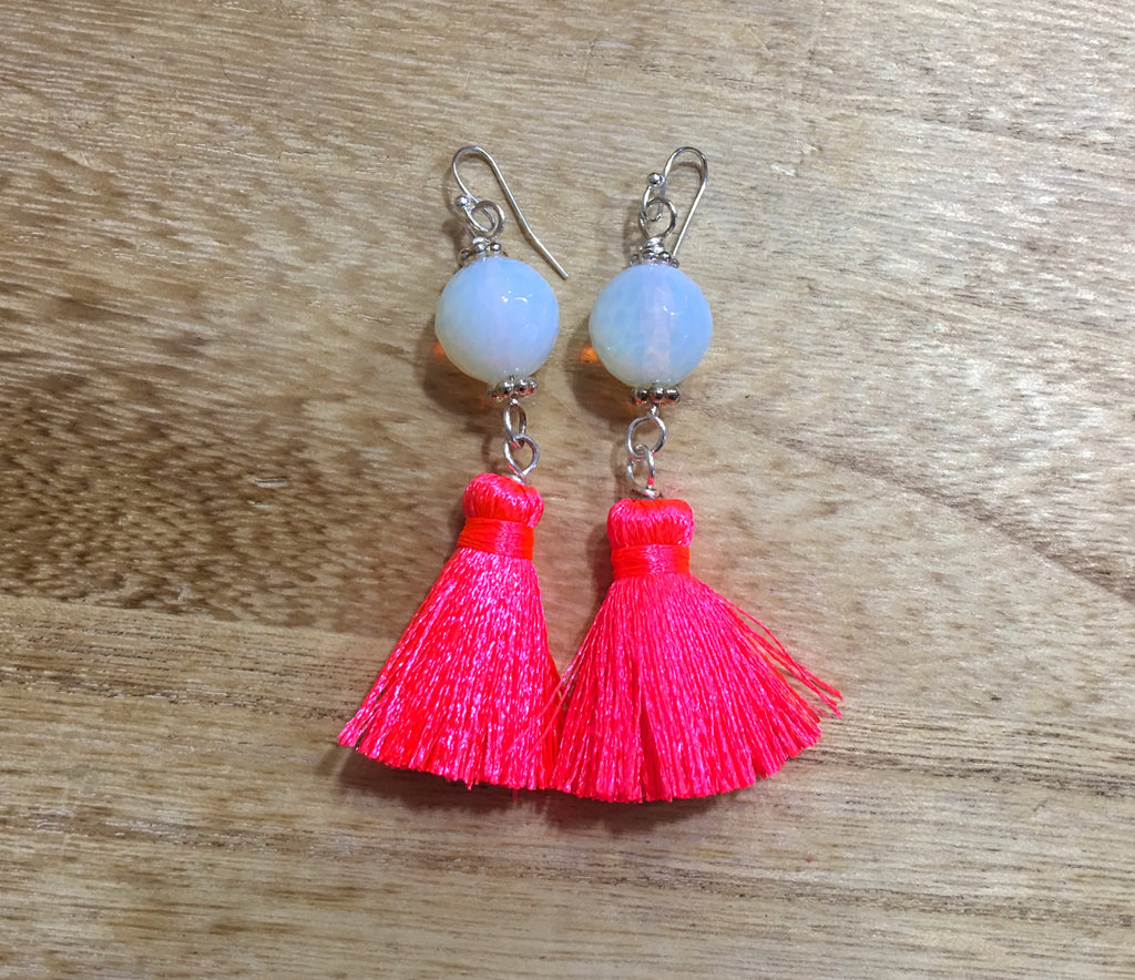 Opalite Earrings with Neon Pink Tassel