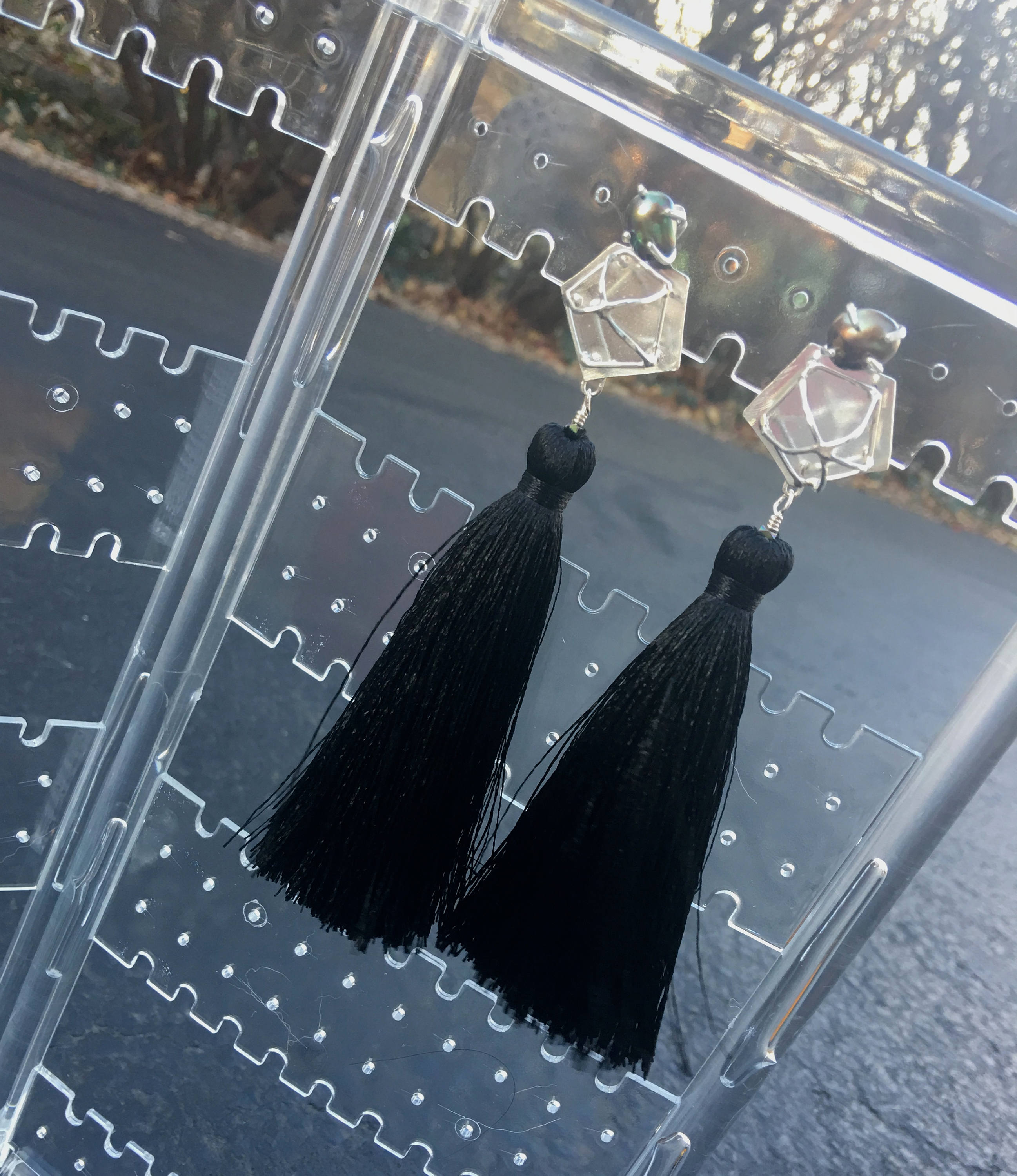 Freshwater Pearl - Black Silk Tassel Earrings