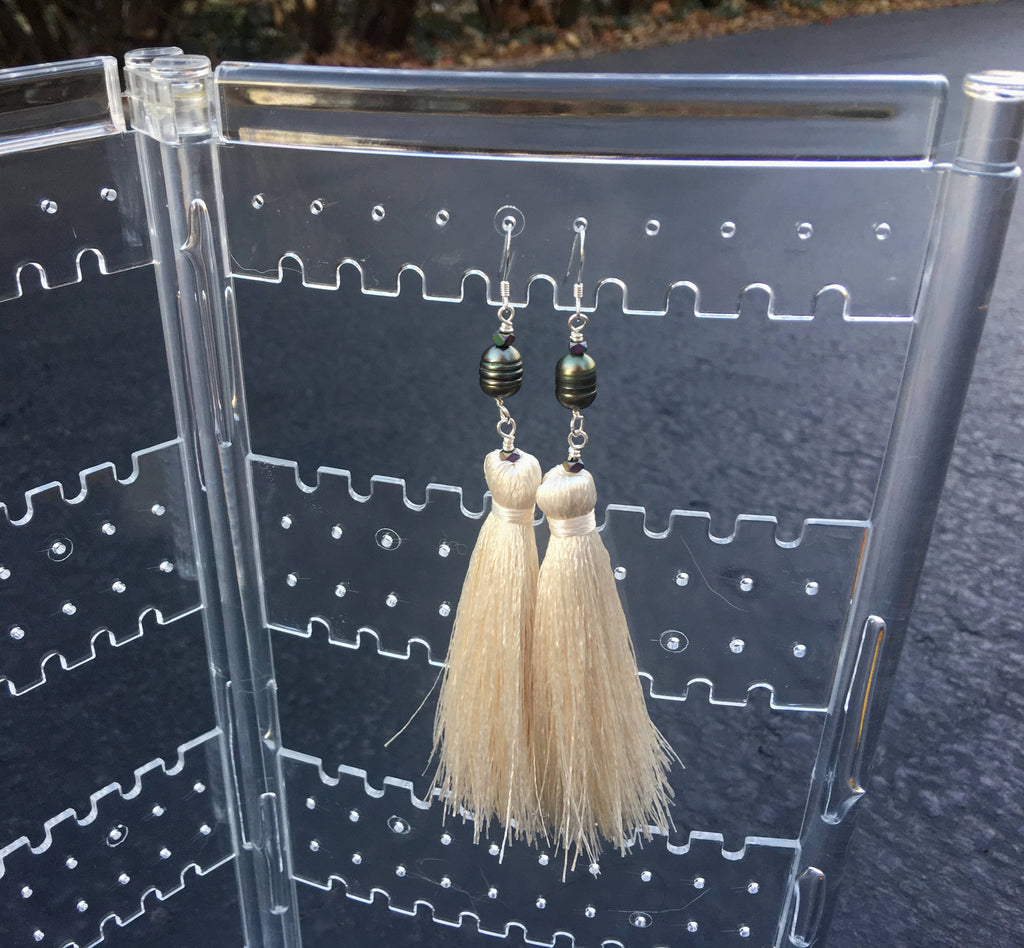 Freshwater Pearl - Cream Tassel Earrings