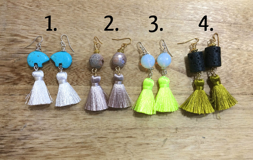 Earrings with Short Tassels (4 Pairs, you choose 1)