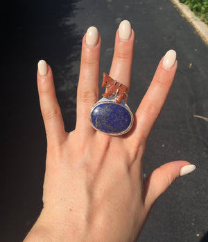 Lapis Lazuli with a Goldstone Horse Ring