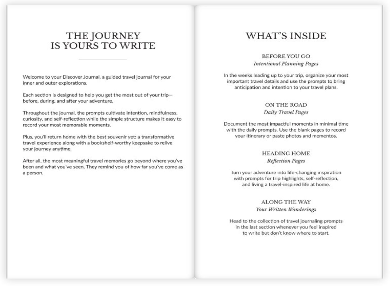 Inside Discover travel journal, how to use this journal
