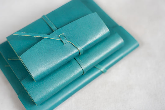 Leather hand bound notebook - Teal Green