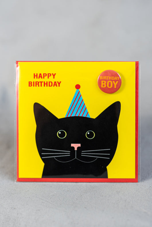 Cat birthday card with badge