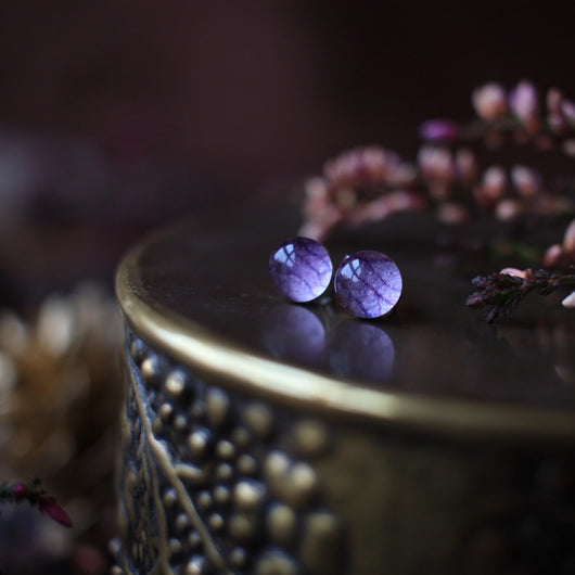 Purple Hydrangea/ Sterling silver studs