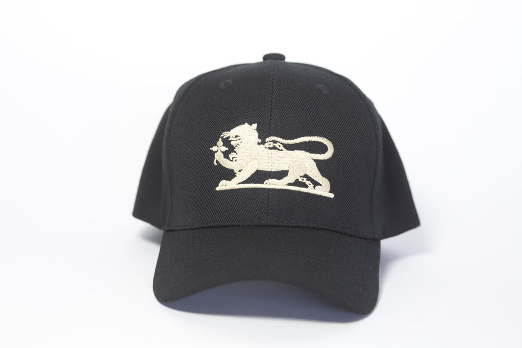 Leopard Logo Cap in Black & Gold