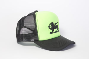 Leopard Logo Cap in Neon Green and Black Embroidery