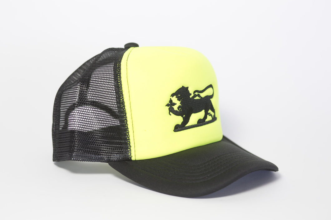 Leopard Logo Cap in Neon Yellow and Black Embroidery