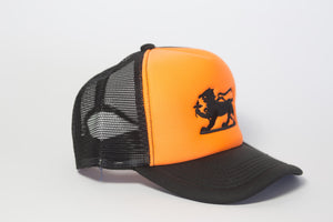 Leopard Logo Cap in Orange and Black Embroidery