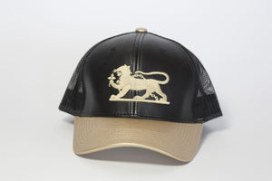 Leopard Logo Cap in Faux Leather in Black & Gold Bill