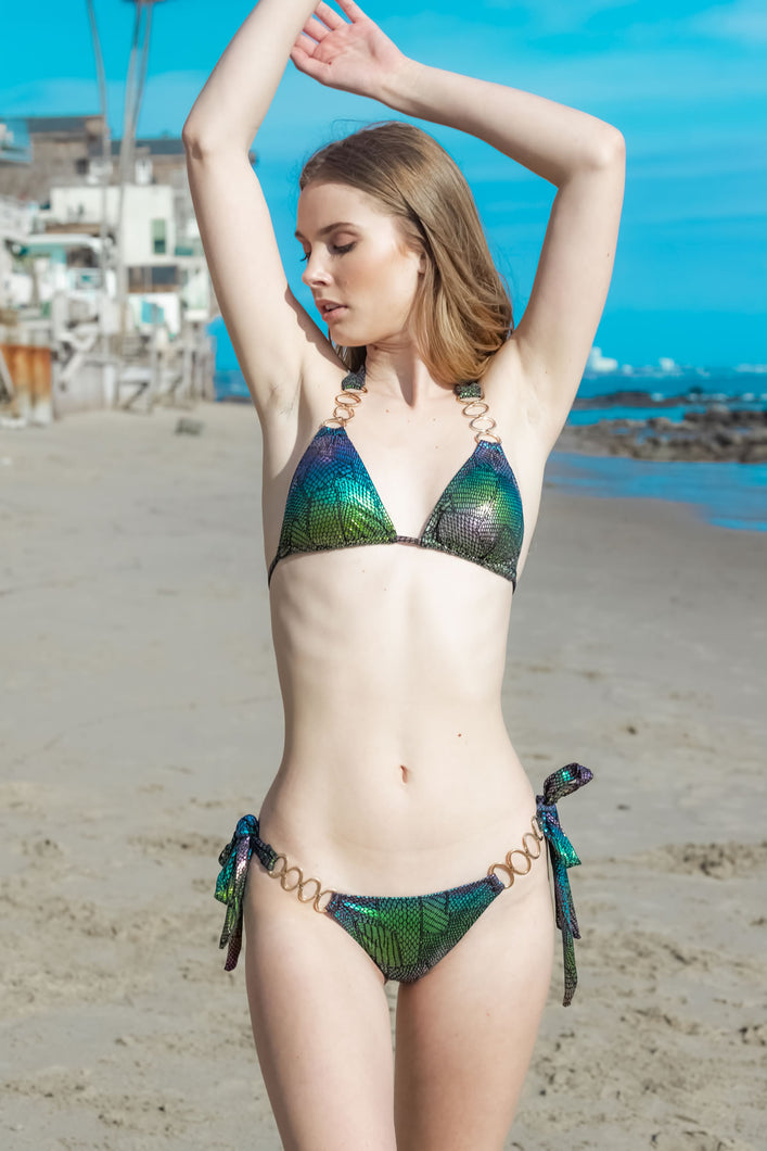 Ladyship The Tobago Siren Shimmering Sequin Bikini Set in Purple-Multi colors