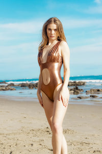 Ladyship The Caicos One-piece Metallic Copper Swimmsuit