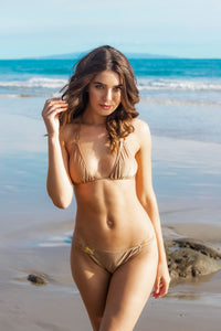 Ladyship The EMI Triangle Bikini Tie up Swimsuit Top with O-rings in Gold