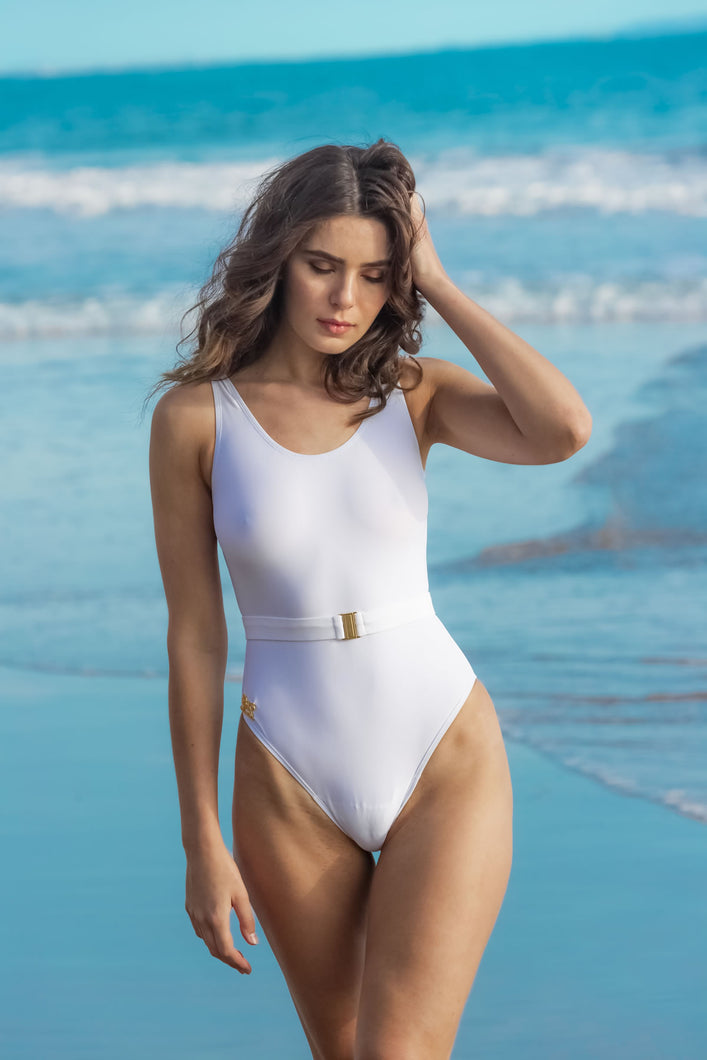 Ladyship The Grace One-piece belted swimsuit in White