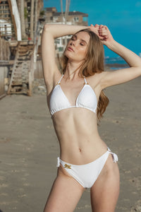 Ladyship The EMI Triangle Bikini Top with O-rings and Tassels tie up in White