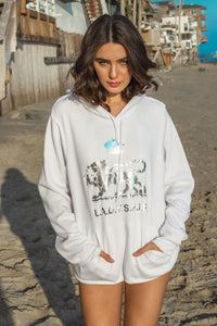 Long Cover-up Hoodie Sweatshirt with Leopard Logo