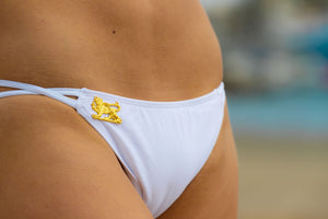 Ladyship The Alicia Classic triangle swimsuit bottom with double criss-cross straps in White.