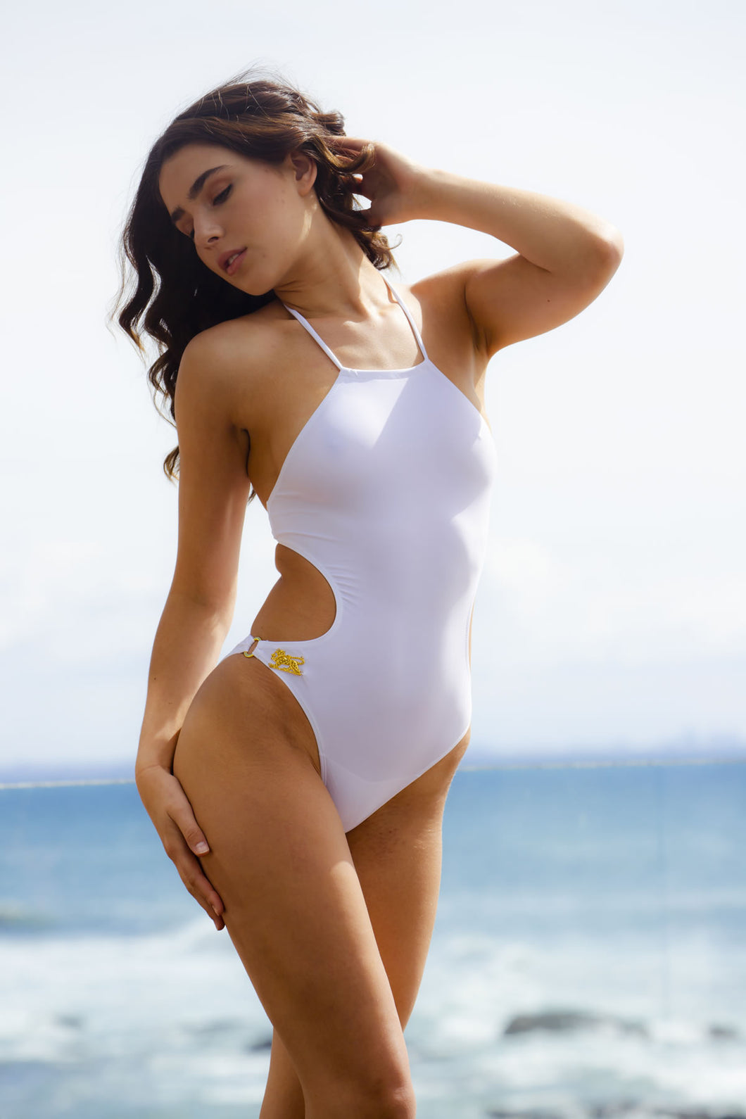Ladyship The Dylan One-piece Halter Neck Swimsuit in White