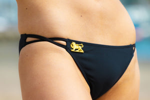 Ladyship The Alicia Classic triangle swimsuit bottom with double criss-cross straps in Black.