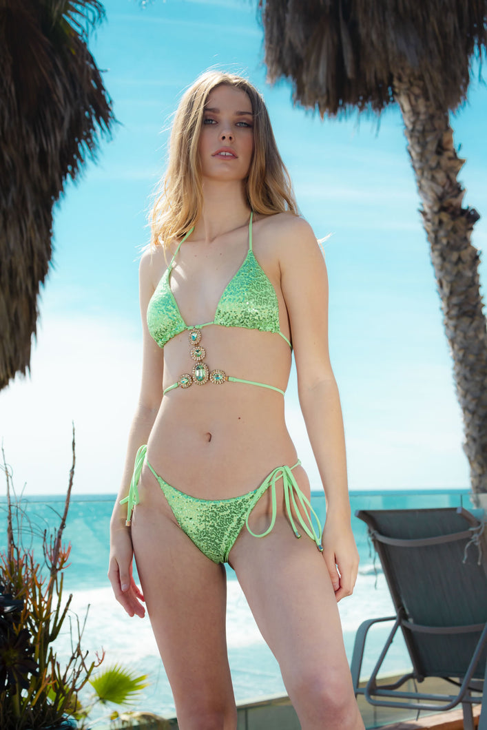 Ladyship The Nevis Shimmering Light Green Bikini Set