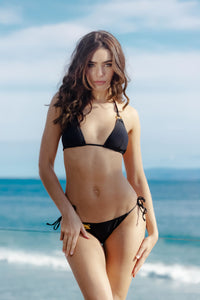 Ladyship The EMI Triangle Bikini Top with O-rings and tassels in Black