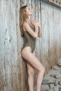 Ladyship The Grace One-piece belted swimsuit in Leopard with Leopard metal insignia