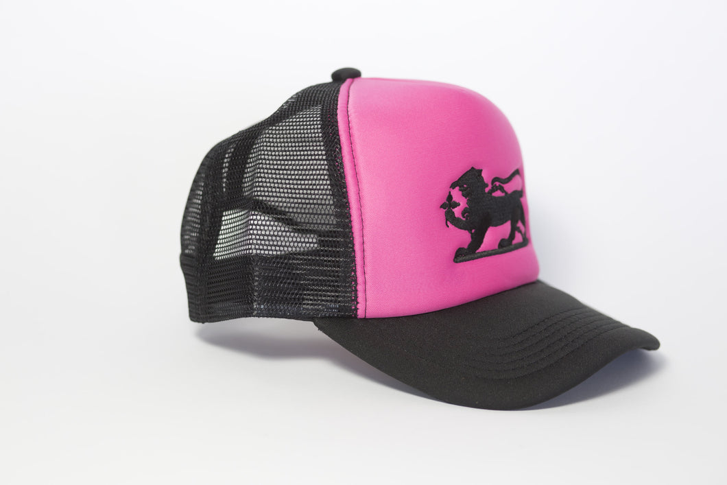 Leopard Logo Cap Embroidered in Black on Hot Pink
