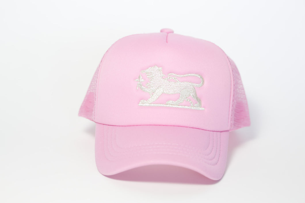 Leopard Logo Cap in Gold on Pink
