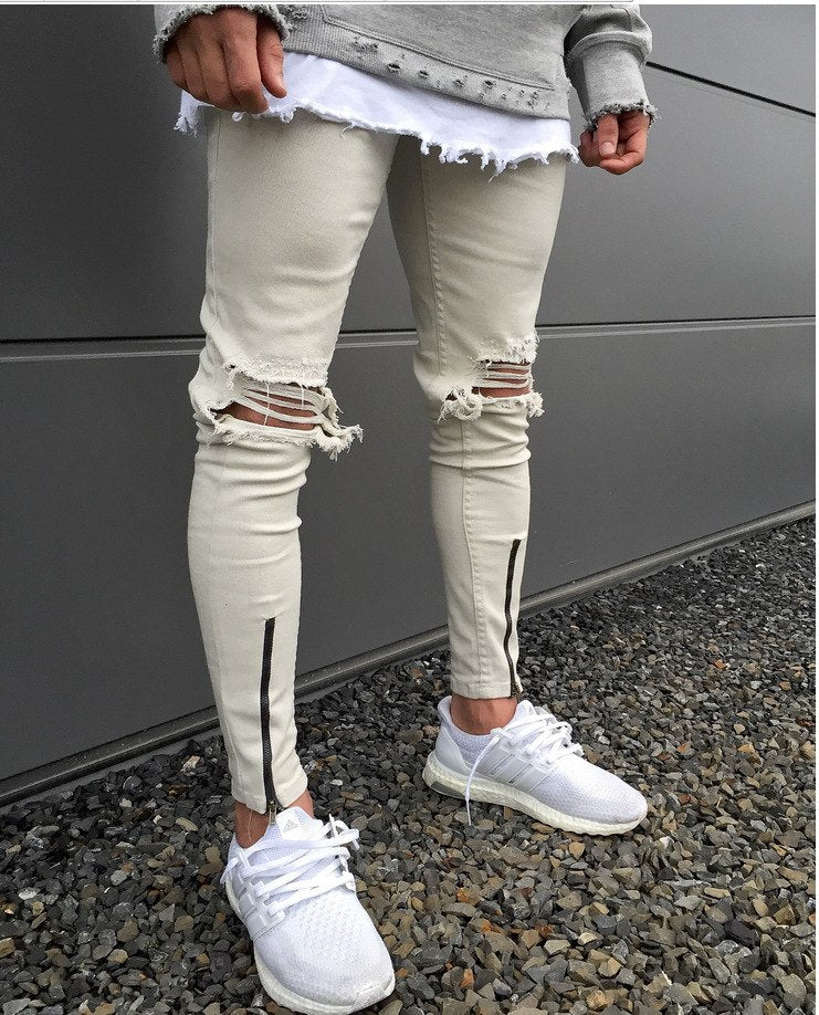 Khaki Skinny Knee Ripped Ankle Zipper Jeans