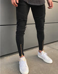 Premium Ripped Ankle Zipper Black Biker Jeans