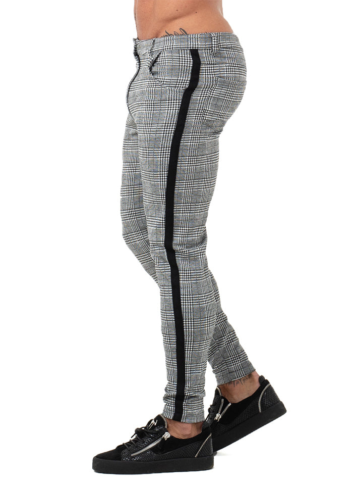 7353 Plaid Pattern Side Stripe Skinny Chinos