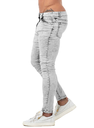 3771 Vintage Light Grey Skinny Stretch Jeans