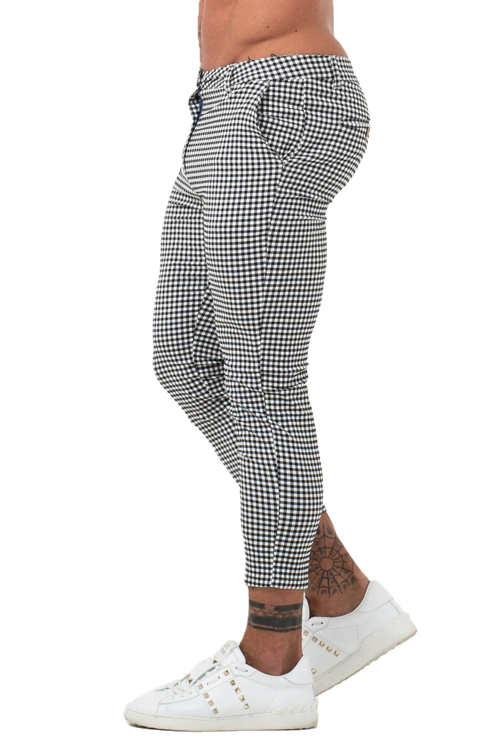 7357 Grey Checked Skinny Fit Chinos