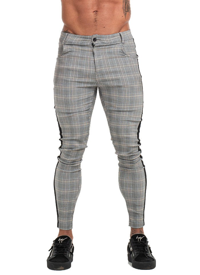 7359 Plaid Pattern Side Stripe Skinny Chinos