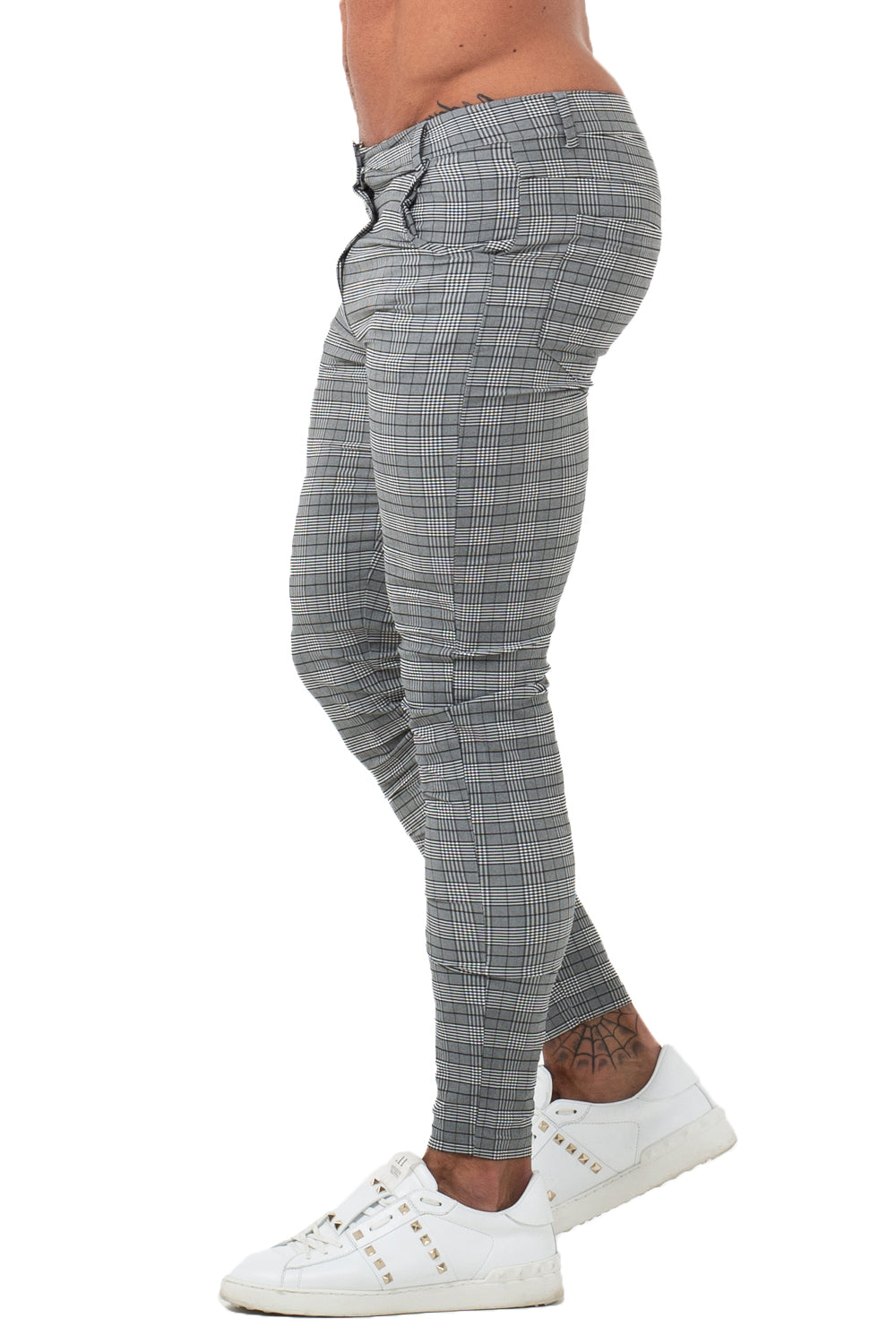 7360 Plaid Pattern Skinny Fit Chinos