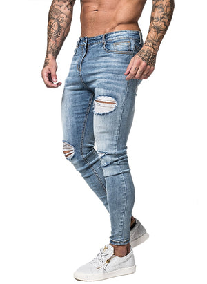 3745 Faded Blue Ripped Distressed Skinny Jeans