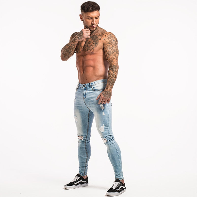 3711 Light Blue Distressed Ripped Skinny Jeans