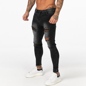 3112 Dark Washed Ripped Black Skinny Jeans