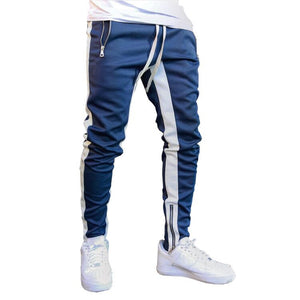 Premium Side Stripe Joggers w/ Ankle Zipper