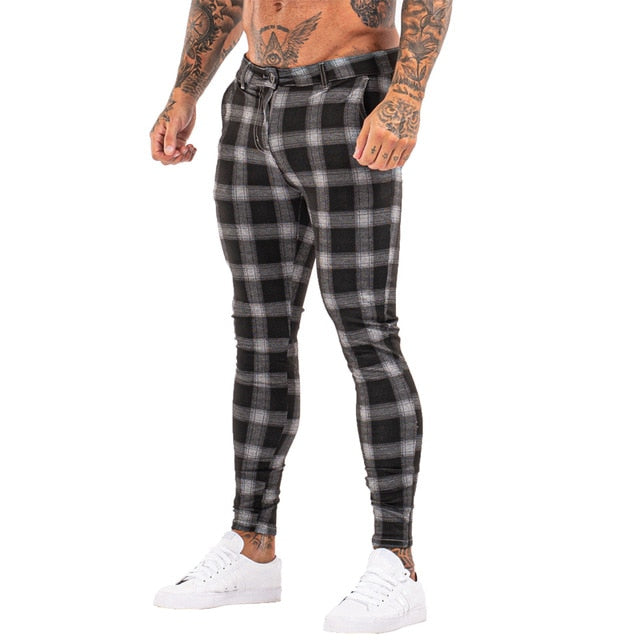 7396 Plaid Pattern Skinny Fit Chinos
