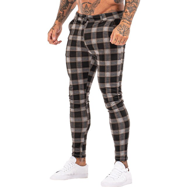 7398 Plaid Pattern Skinny Fit Chinos