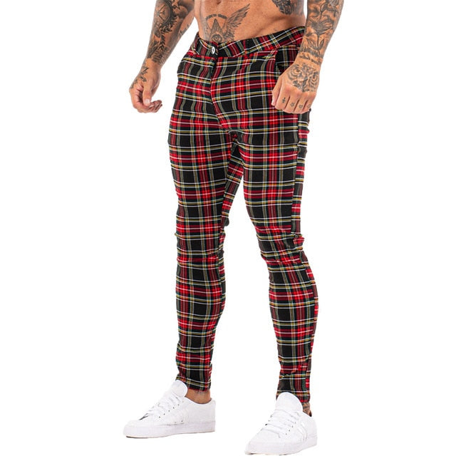 3100 Plaid Pattern Skinny Fit Chinos