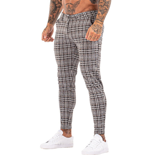 3101 Plaid Pattern Skinny Fit Chinos