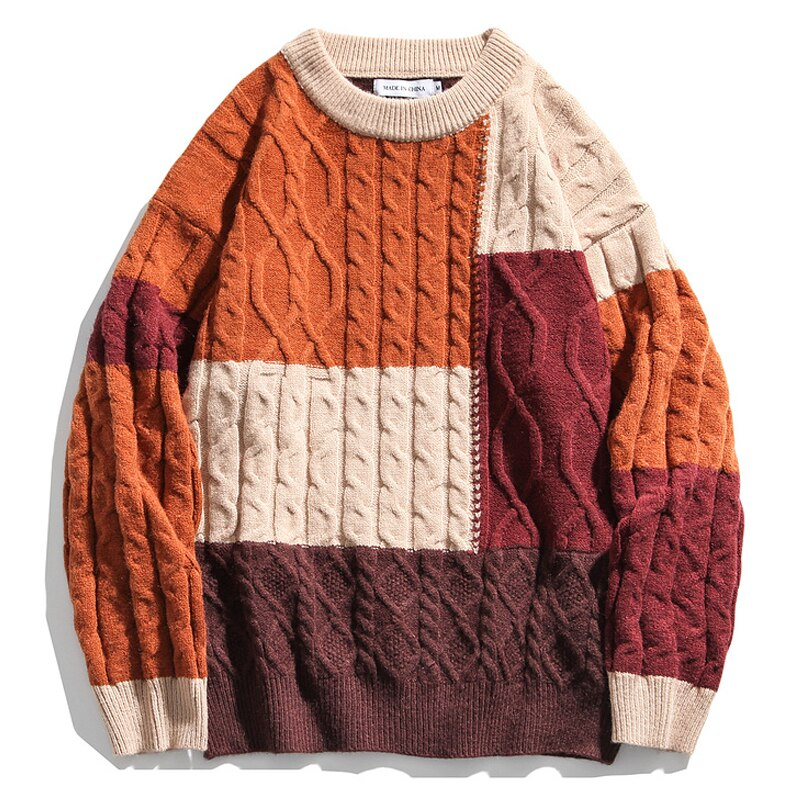 Colour Block Cable-knit Oversized Sweater