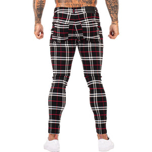 3104 Plaid Pattern Skinny Fit Chinos