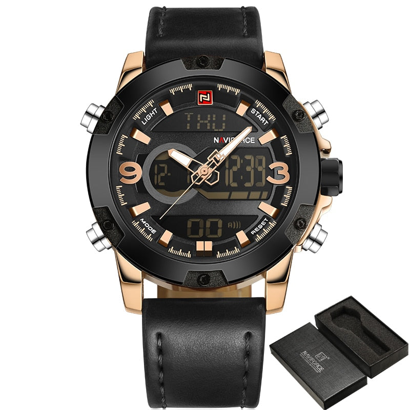 Luxury Analog/Digital Leather Sports Watch